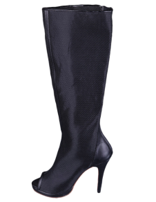 Black Zip Net Peep Toe Womens Knee Length Boots