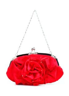 Fashion Red Chiffon Brocade Evening Clutch Handbag For Woman