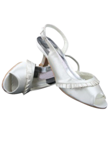 Glorious Ivory Satin Pleated 2 15 High Heel Wedding Shoes