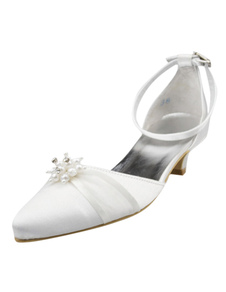Shiny Pearls Stiletto Heel Pointed Toe Silk And Satin Cute Womens Wedding Shoes