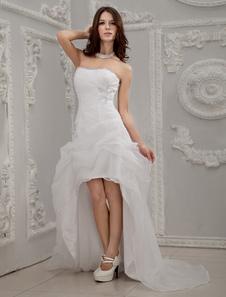 Image of Abito da sposa bianco organza collo a cuore vestito da ballo asimmetrico