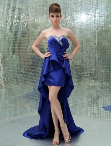 Image of Abito da Galà blu reale sexy attillato in raso con scollo a cuor