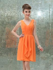 Image of Abito da Cocktail arancione sexy in chiffon con scollo a V drappeggiato