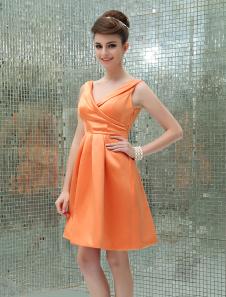 Image of Abito da Cocktail arancione sexy in raso con scollo a V a pieghe
