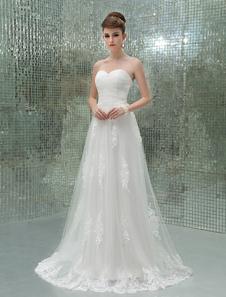Image of Abbigliamento da sposa avorio a terra a-linea senza spalline in