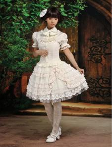 Image of Maniche corte dolce abiti di cotone Blend Lolita bianco ecrù