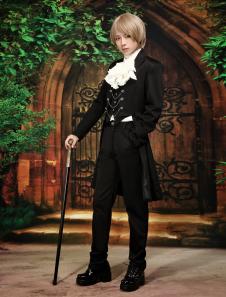 Image of Aristocratico maniche lunghe cotone Blend nero Lolita Outfit
