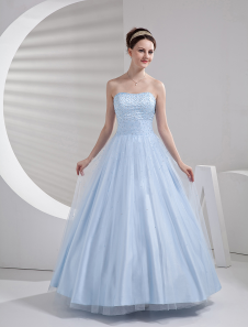 Glamorous Ball Gown Light Sky Blue Tulle Quinceanera Dress