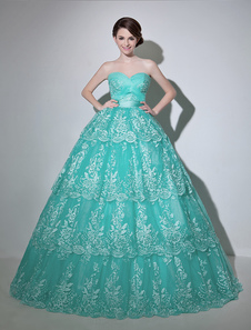 Lace Quinceanera Dress Turquoise Ball Gown Evening Dress Strapless Sweetheart Sleeveless Tiered  Floor Length Party Dress