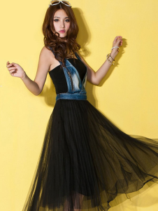 Sexy Black Patchwork Pleated Zipper Womens Maxi Dress