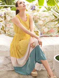Charming Yellow Color Block Polyester Crewneck Womens Maxi Dress