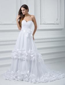 Robe de mariée A-ligne blanche en tulle traîne courte