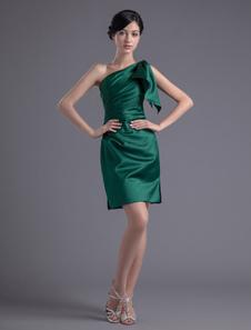 Short OneShoulder Sheath Ruched Satin Dark Green Bridesmaid Dress