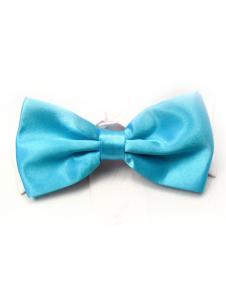 Image of Elastico seta blu moda maschile come Satin Bow Tie