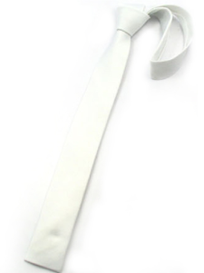Image of Cool White Pure Color tinto in filo di seta Mens Ties