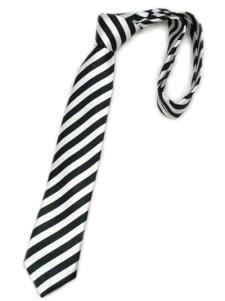 Image of Fashionable Black Stripe tinto in filo di seta Mens Ties