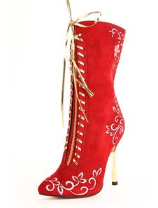 Image of Attrayant bout pointu rouge talon aiguille Suède Micro milieu mollet bottes pour femmes