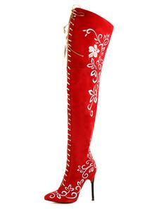Image of Rosso punte Toe Zipper Suede Micro donna moderna di sopra gli stivali al ginocchio