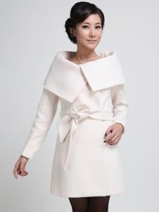 Milanoo UK  Ecru White Sash Turndown Collar Polyester Woman's Overcoat