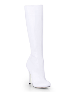 White Almond Toe Patent Womans Knee Length Boots
