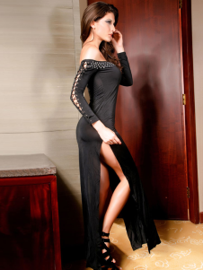 Black Long Sleeves OffTheShoulder LaceUp Rhinestone Acrylic Club Dress