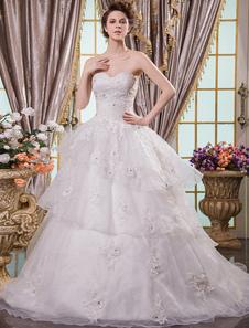 Image of Abbigliamento da sposa con scollo a cuore da ballo senza spalline di pizzo avorio Milanoo