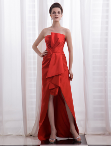 sheath-strapless-red-satin-pleated-celebrity-dress