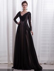 Black Wedding Dress Cowl Neck Lace Applique Chiffon Long Sleeves FloorLength Evening Dress
