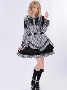 Nero miscela Stripe Pattern lunghe maniche Lolita Dress cotone