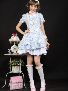 Sweet Blue Bows Short Sleeves Cotton Blend Lolita Dress