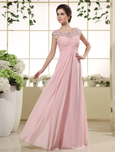Pink Prom Dresses 2017 Long Lace Illusion Chiffon Evening Dress Ruched Beading Floor Length Party Dress