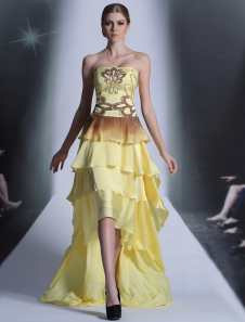 Elegant Yellow Satin Strapless Knee Length Evening Dress