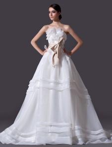 Image of Abbigliamento da sposa avorio classico in organza con fiocco sen