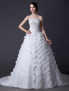 Ivory Tiered Ruffles Beads Wedding Dress with Aline Strapless Design