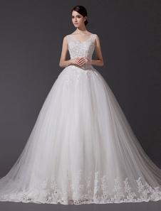 Image of Abiti da sposa con scollo a V in pizzo abito da sposa abito di paillettes che borda Illusionee lungo treno cattedrale abito da sposa