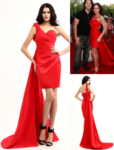 Robe de célébrité en rouge attractif d'épaule single en satin