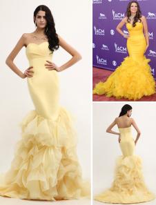 mermaid-daffodil-organza-strapless-pleated-sweep-celebrity-dress