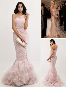 Peach Evening Dress Mermaid One Shoulder Organza Prom Dress Ruched Ruffle Tiered Gossip Girl Dress With Court Train