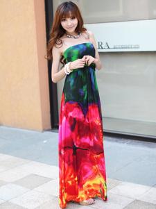 Retro Red Flowers Viscose Rayon Womens Maxi Dress