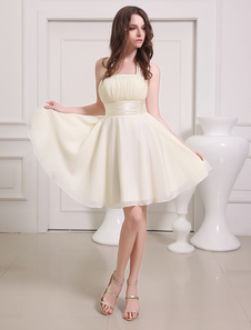 Champagne Prom Dress Straps Sash Lace Up Bow Chiffon Dress