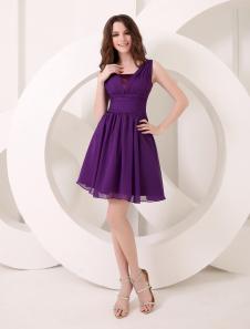 Deep Purple Bridesmaid Dress ALine Chiffon Dress