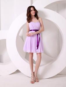 Lavender Bow Chiffon Sweetheart Neck Short Bridesmaid Dress