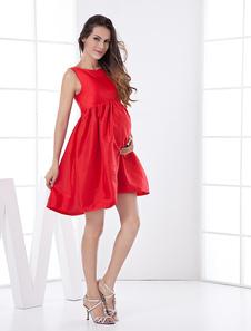 Image of Abbigliamento di graduazione rosso A-linea al ginocchio con fiocchi smanicato
