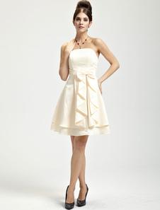 Pretty Champagne Satin Strapless Knee Length Bridesmaid Dress