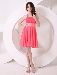 Pretty Watermelon Aline Halter Chiffon Short Bridesmaid Dress