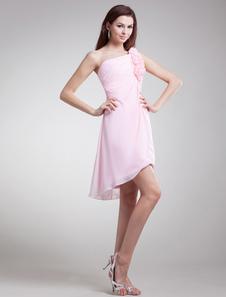 Sweet Pink Floral OneShoulder Chiffon Short Fashion Bridesmaid Dress