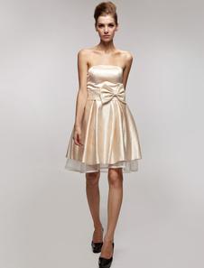 Wonderful Champagne Satin Gauze Strapless Bow Short Dress