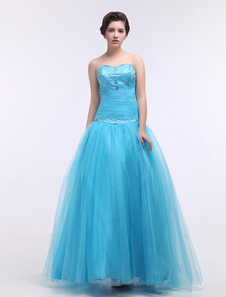 Tulle Quinceanera Dress Ball Gown Aqua Sweetheart Strapless Beading Maxi Party Dress
