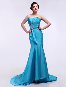 blue-strapless-rhinestone-evening-dress