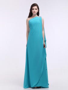 Chiffon Evening Dress One Shoulder Long Prom Dress Aqua Cascade Ruffle Floor Length  Formal Dress